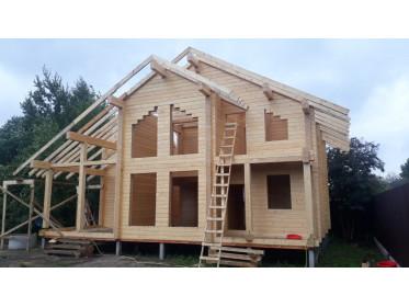 """Строительство дома из клееного бруса по проекту """"Дубна"""""""